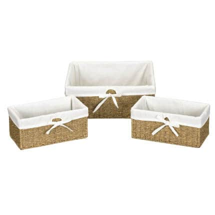 Household Essentials Seagrass Utility Baskets (Set of 3)