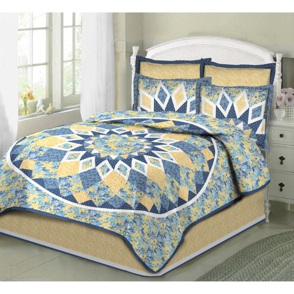 French Star 100-percent Cotton 3-piece Quilt Set