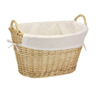 Household Essentials Willow Natural Laundry Basket with Lining