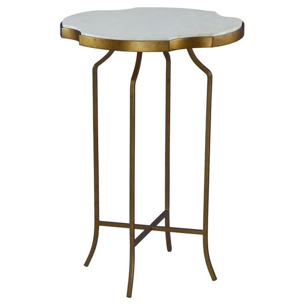 Shop Galleria Marble And Wrought Iron Accent Table   Free Shipping Today    Overstock   9798595