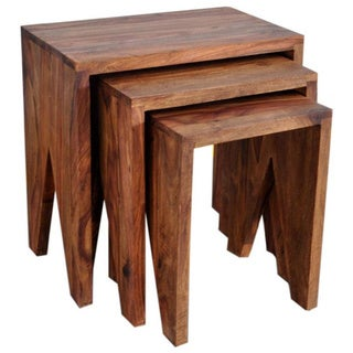 Idris Solid Wood 3-piece Nesting Table Set