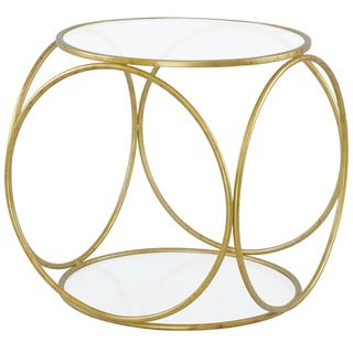 Java Clear Glass Wrought Iron Accent Table