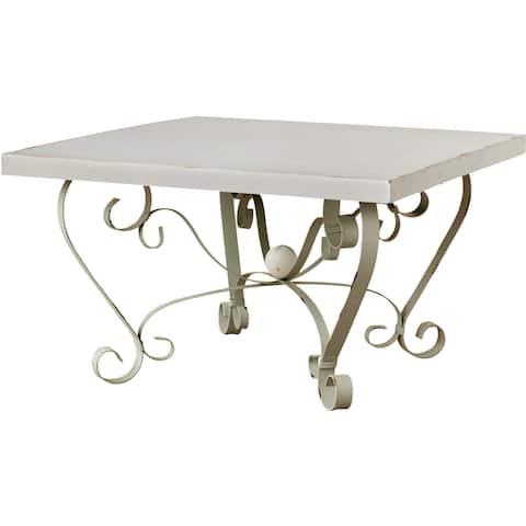 Gracewood Hollow Mouissou Square Metal and Stone Table