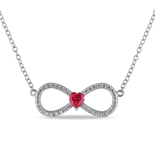 Miadora Sterling Silver Created Ruby Infinity Heart Necklace
