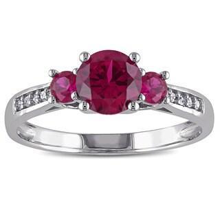 Miadora 10k White Gold Created Ruby Diamond Accent 3-stone Ring