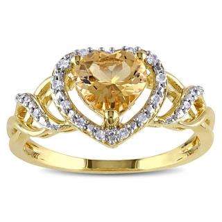 Miadora Yellowplated Silver Yellow Beryl 1/10ct TDW Diamond Heart Ring (H-I, I2-I3)