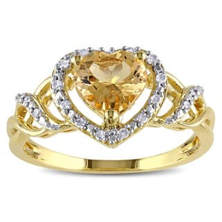 Miadora Yellowplated Silver Yellow Beryl 1/10ct TDW Diamond Heart Ring (H-I, I2-I3)|https://ak1.ostkcdn.com/images/products/9799261/P16967055.jpg?impolicy=medium