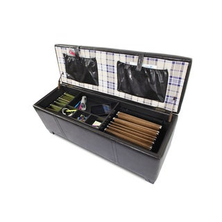 Home Office Storage Ottoman with Two Seating Cubes and File Storage