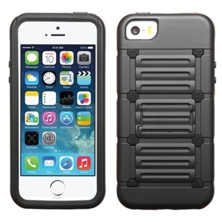 INSTEN Dual Layer Hybrid Rubberized Hard PC/ Soft Silicone Phone Case With Stand For Apple iPhone 5/ 5S/ SE