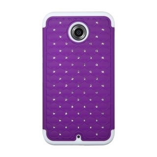 INSTEN Dual Layer Hybrid Rubberized Hard PC/ Soft Silicone Phone Case Cover With Diamond For Motorola Nexus 6