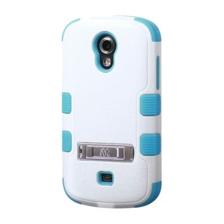 INSTEN White/ Blue Dual Layer Hybrid Rubberized Hard PC/ Soft Silicone Phone Case With Stand For Samsung Galaxy Light SGH-T399