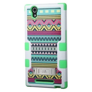 INSTEN Tuff Dual Layer Hybrid Rubberized Hard PC/ Soft Silicone Phone Case With Stand For ZTE ZMax
