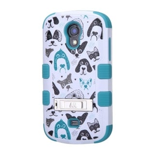 INSTEN White/ Blue Tuff Cutedogs Hybrid Matte Hard PC/ Soft Silicone Phone Case With Stand For Samsung Galaxy Light SGH-T399