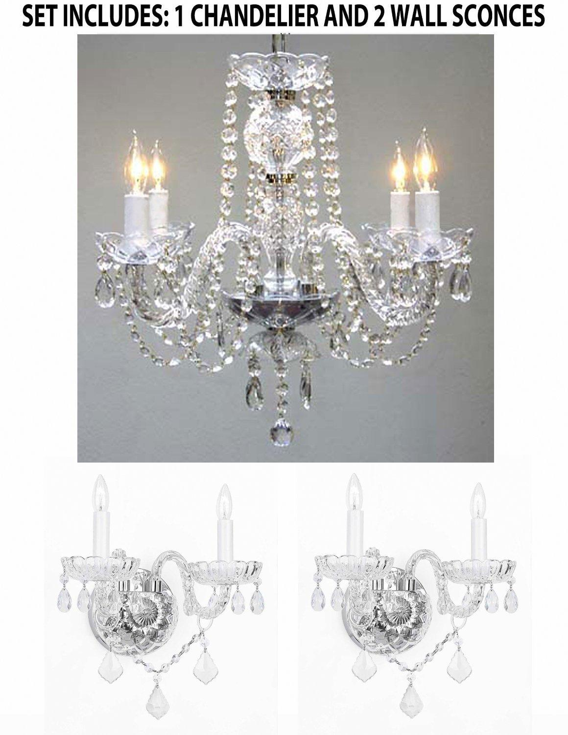 *3 Piece Set* Lighting Set Crystal Chandelier & 2 Wall Sconces