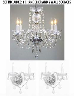 *3 Piece Set* Lighting Set Crystal Chandelier & 2 Wall Sconces - Thumbnail 0