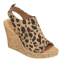 Women's Aerosoles World Traveler Wedge Sandal Leopard Tan Fabric
