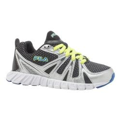 Boys' Fila Poseidon Running Shoe Black/Metallic Silver/Prince Blue