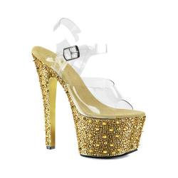 Women's Pleaser Bejeweled 708SP Ankle Strap Sandal Clear PVC/Gold Chrome