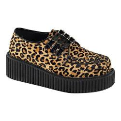 Women's Demonia Creeper 112 Creeper Tan Leopard Print Faux Fur/Black Patent