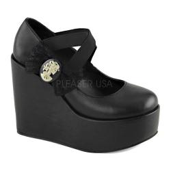 Women's Demonia Poison 02 Platform Mary Jane Black Vegan Leather/Lace
