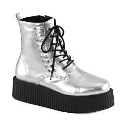 Demonia V Creeper 573 Ankle Boot Silver Vegan Leather