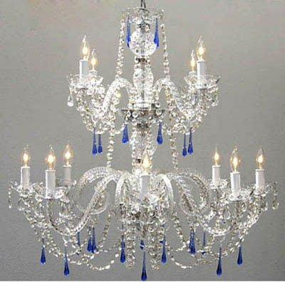Authentic All Crystal Chandelier s With Blue Crystals