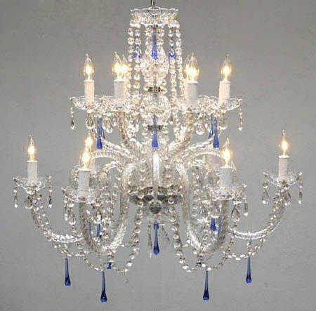 Authentic All Crystal Chandelier With Blue Crystals