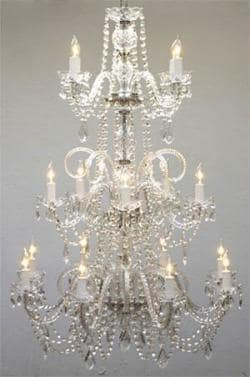 Venetian Style All Crystal Chandelier Lighting W30 x H50 - Thumbnail 0