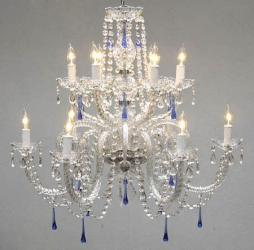 Authentic All Crystal Chandelier With Blue Crystals - Thumbnail 0