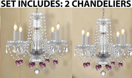 *Set Of 2* Chandelier Lighting With Crystal Pink *Hearts*