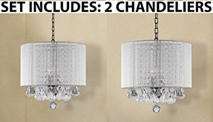 *Set Of 2* Crystal Chandelier Lighting With Large White Shade
