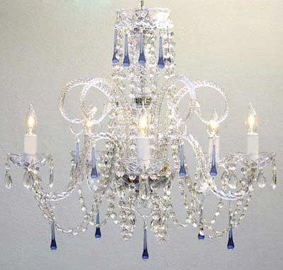 Blue Crystal Chandelier Lighting