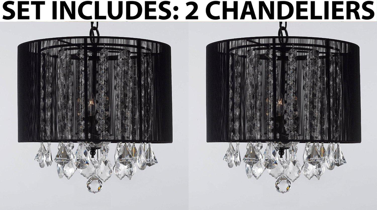 *Set Of 2* Crystal Chandelier Lighting With Large Black Shade H15 x W15