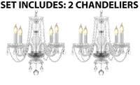 *2 Piece Set* Lighting Set Pair of Kitchen & Mini Empress Crystal Chandelier