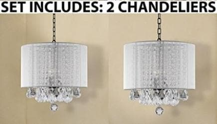 *Set Of 2* Crystal Chandelier Lighting With Large White Shade - Thumbnail 0