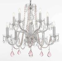 Empress Crystal Plug In Chandelier Lighting With Pink Crystal