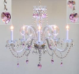 Pink Crystal Chandelier Lighting H25 x W24