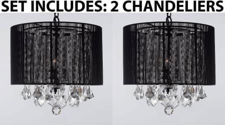*Set Of 2* Crystal Chandelier Lighting With Large Black Shade H15 x W15 - Thumbnail 0