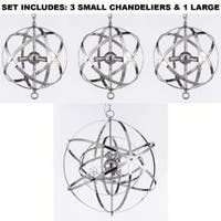 *Set Of 3* Over & With One Large Over Kitchen Table Wrought Chrome Orb Chandelier Lighting
