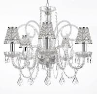 Empress Crystal Plug In Chandelier Lighting With Chrome Sleeves