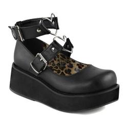 Women's Demonia Sprite 02 Platform Mary Jane Black Vegan Leather