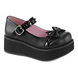 Women's Demonia Sprite 04 Platform Mary Jane Black Vegan Leather/Patent