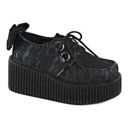 Women's Demonia Creeper 212 Creeper Black Vegan Leather/Lace