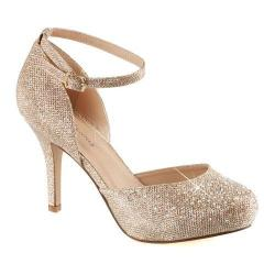 Women's Fabulicious Covet 03 Ankle Strap Pump Nude Glitter Mesh Fabric