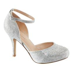 Women's Fabulicious Covet 03 Ankle Strap Pump Silver Glitter Mesh Fabric