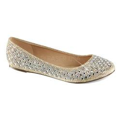Women's Fabulicious Treat 06 Ballet Flat Nude Glitter Mesh Fabric (More options available)