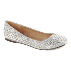 Women's Fabulicious Treat 06 Ballet Flat Silver Glitter Mesh Fabric