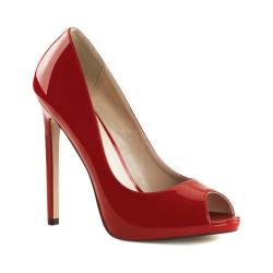 Women's Pleaser Sexy 42 Peep Toe Pump Red Patent
