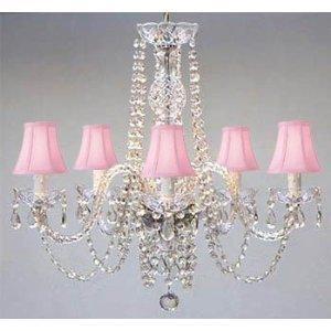 New Authentic All Crystal Pug In Chandelier Lighting With Pink Shades