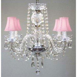 All Crystal Swag Plug In Chandelier With Pink Shades H17 x W17